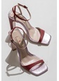 Elle Kalın Topuklu %100 Deri Ayakkabı Kırmızı